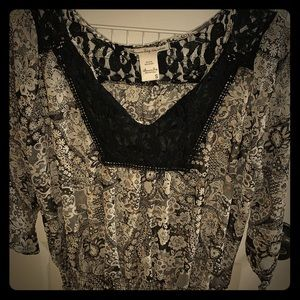 Floral and Sheer Dress Blouse